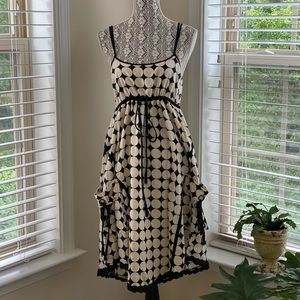 Cream and Black Polka Dot Midi Dress SZ S